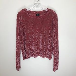 agnes & dora cut out sheer velvet top blouse